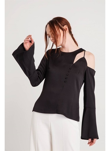 Rue Tek Omuz Kolları Volanlı Bluz Siyah